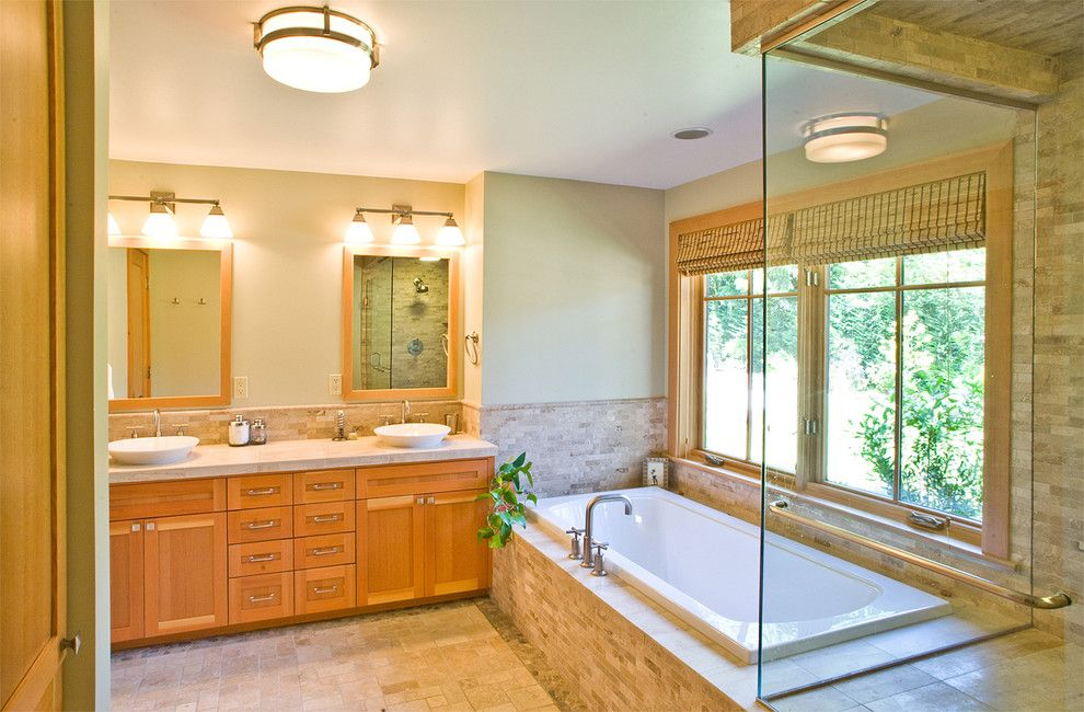 Master Bathroom Layouts for a Contemporary Bathroom with a Wall Lighting and Northwest Contemporary Bathroom by Paul Moon Design
