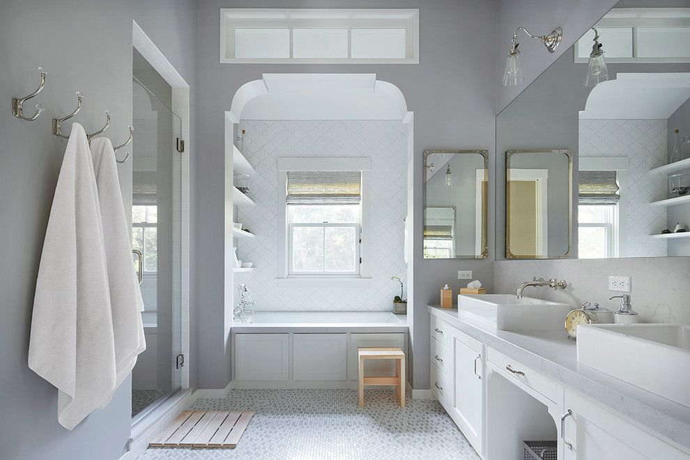 Master Bathroom Layouts for a Farmhouse Bathroom with a Vintage Bathroom Sconces and Mill Valley Remodel by Richardson Architects