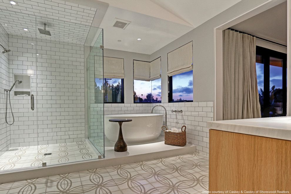 Master Bathroom Layouts for a Modern Bathroom with a White Countertop and Kolbe Windows & Doors by Kolbe Windows & Doors