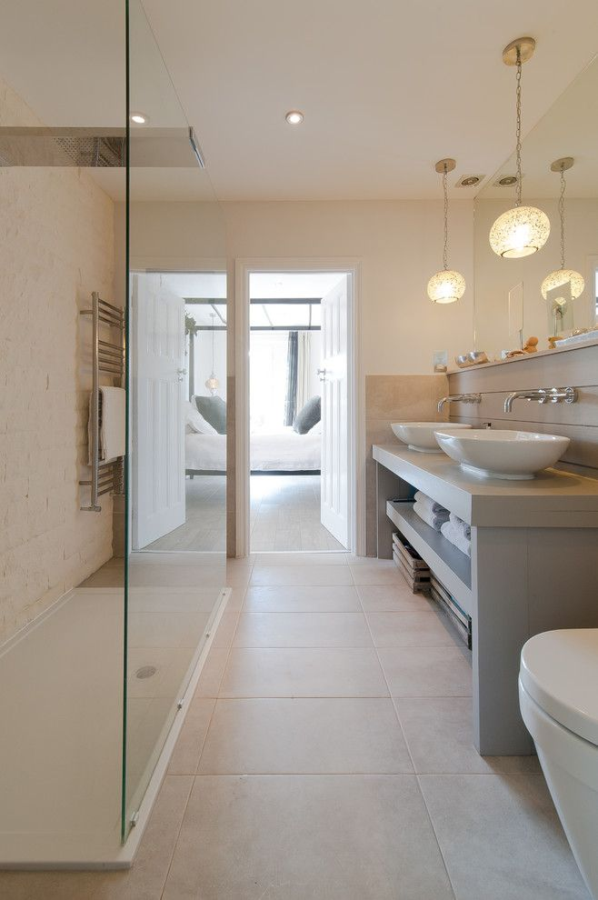Master Bathroom Layouts for a Transitional Bathroom with a Shower Panel and Pilgrims Way by 50 Degrees North Architects