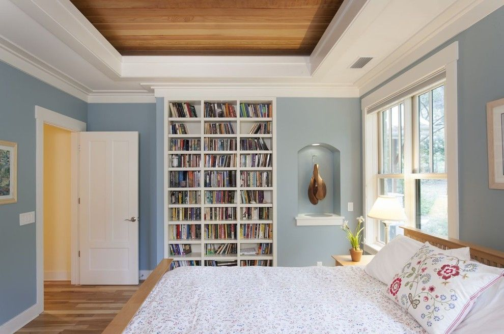 Master Bedroom Decorating Ideas for a Contemporary Bedroom with a White Wood and Master Bedroom by Heimsath Architects