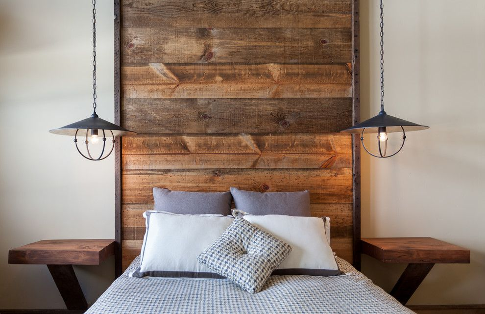 Master Bedroom Decorating Ideas for a Rustic Bedroom with a Rough Hewn Wood Headboard and Juniper Hills by High Camp Home