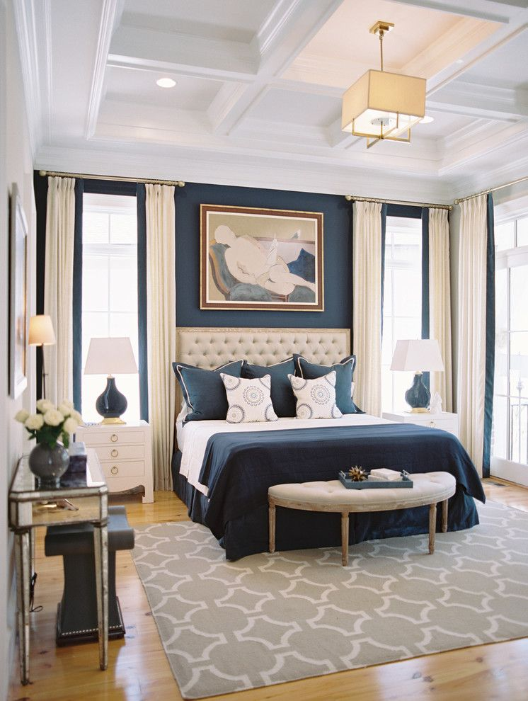 Master Bedroom Decorating Ideas for a Traditional Bedroom with a Navy and Columbia Dream Home 2014 by Steven Ford Interiors