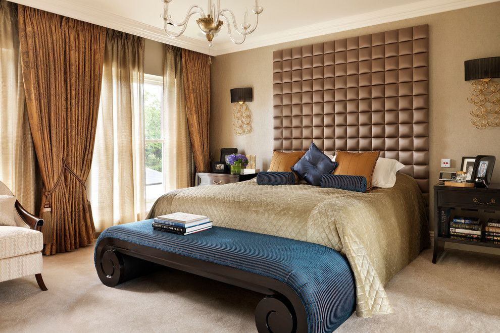 Master Bedroom Decorating Ideas for a Traditional Bedroom with a Upholstered Headboard Wall and Country House Master Bedroom by Oliver Burns