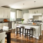 Masterbrand Cabinets for a Traditional Kitchen with a Counter Stool and Decora Prescott Inset White Kitchen by Masterbrand Cabinets, Inc.