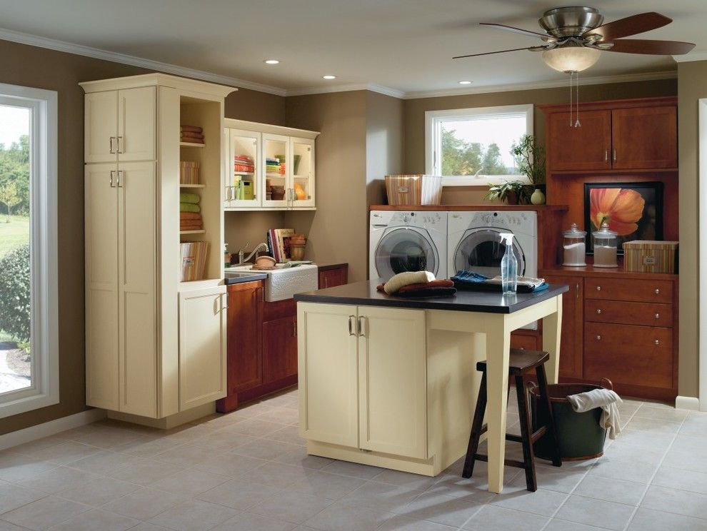 Masterbrand Cabinets For A Traditional Laundry Room With A Honeysuckle And  Diamond Shiloh Laundry Cabinets By