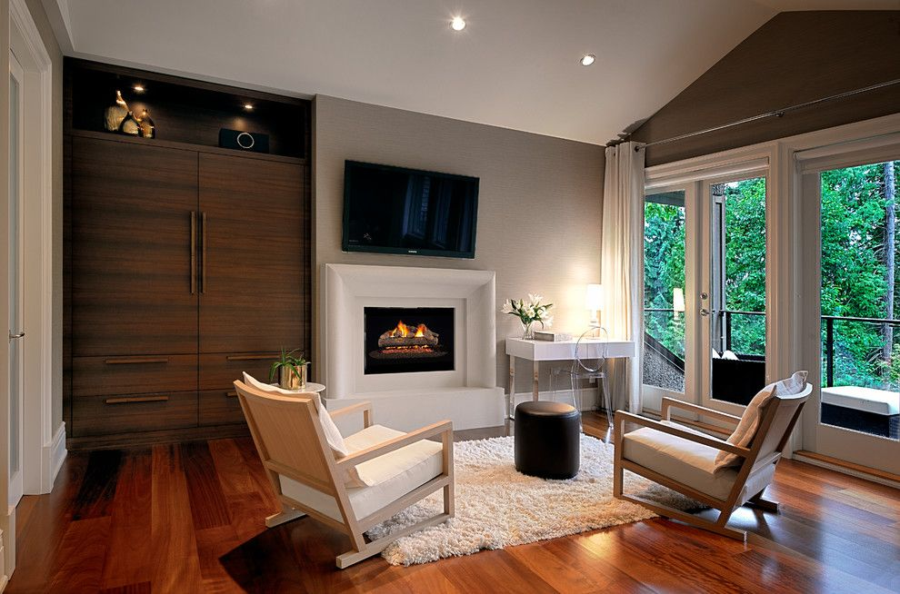 Maxalto for a Contemporary Bedroom with a Raised Fireplace and Mathers Avenue Residence by Erica Winterfield Design