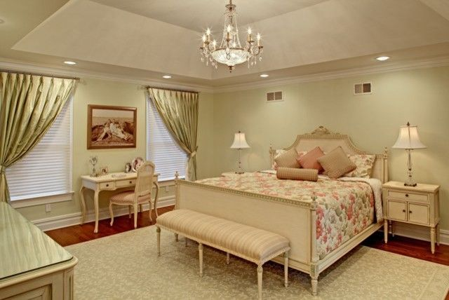 Maxwell Fabrics for a Traditional Bedroom with a Tray Ceiling and New Master Bedroom Sleeping Area by Sheila Rich Interiors, Llc