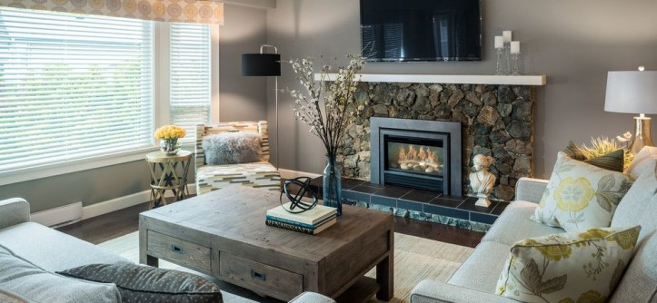 Maxwell Fabrics for a Transitional Living Room with a Floral Throw Pillow and Lucas by Leanne McKeachie Design