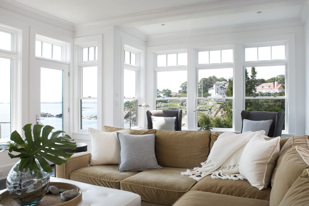 Maxwell Fabrics for a Transitional Living Room with a Recessed Lighting and Rocky Ledge Living Room by Lda Architecture & Interiors