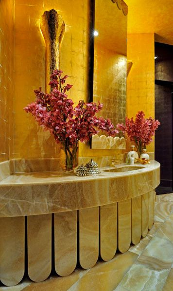 Maya Romanoff for a  Bathroom with a Gold and Gilded by Maya Romanoff