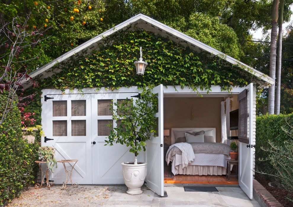 Maya Romanoff for a Shabby Chic Style Garage with a Living Wall and My Houzz: From Belgium with Love by Carolyn Reyes