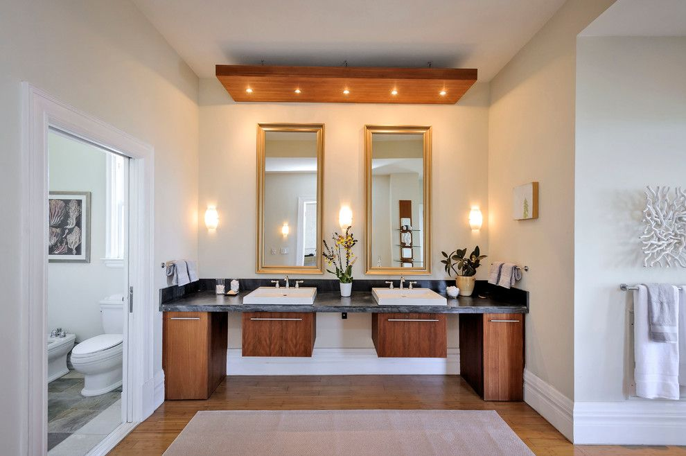 Mayer Lighting for a Contemporary Bathroom with a Double Sinks and Buena Vista Beauty by Dennis Mayer, Photographer