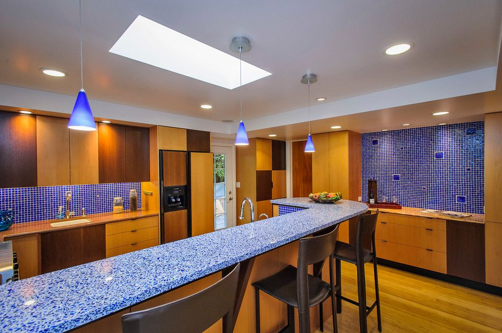 Mayer Lighting for a Contemporary Kitchen with a Skylight and Ralston Avenue by Dennis Mayer, Photographer