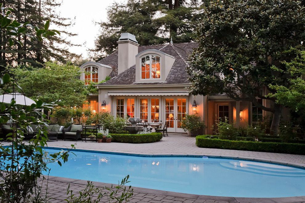 Mayer Lighting for a Mediterranean Pool with a French Doors and Green Oaks Atherton by Dennis Mayer, Photographer