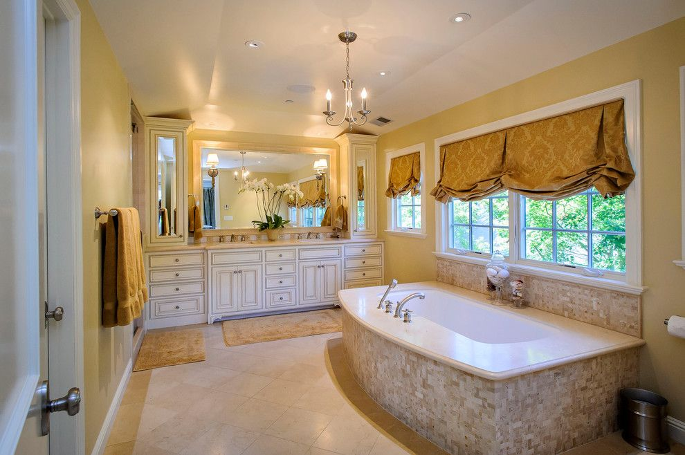 Mayer Lighting for a Traditional Bathroom with a Yellow Roman Shade and West Bellevue by Dennis Mayer, Photographer