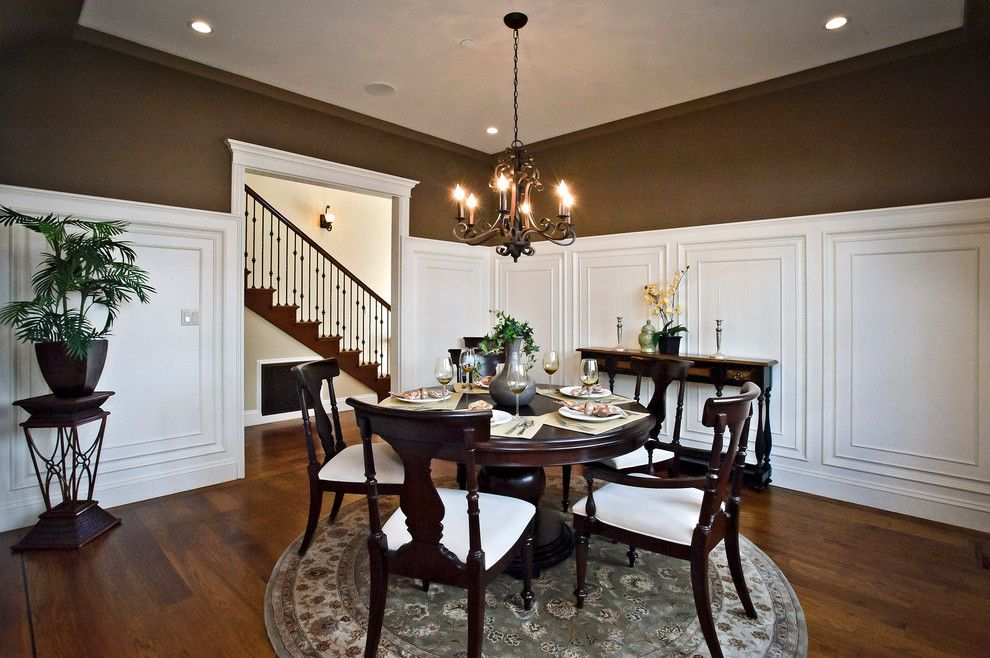 Mayer Lighting for a Traditional Dining Room with a Dark Wood Dining Table and Drake Avenue by Dennis Mayer, Photographer