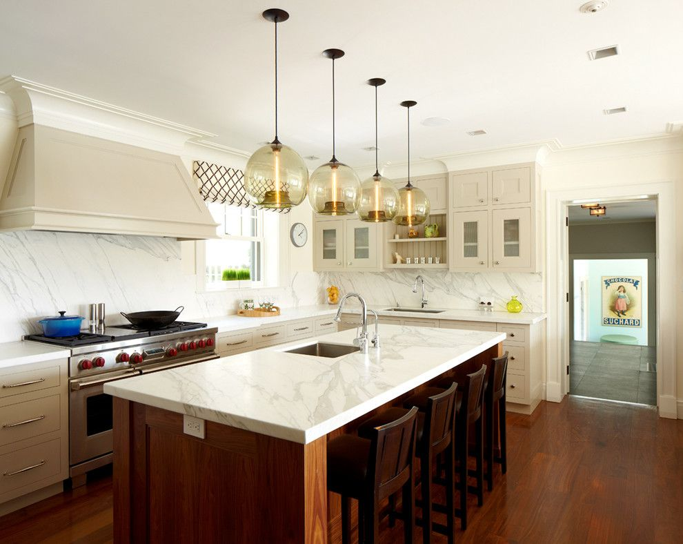Mayer Lighting for a Transitional Kitchen with a Bench Seating and Greenwich Residence by Leap Architecture