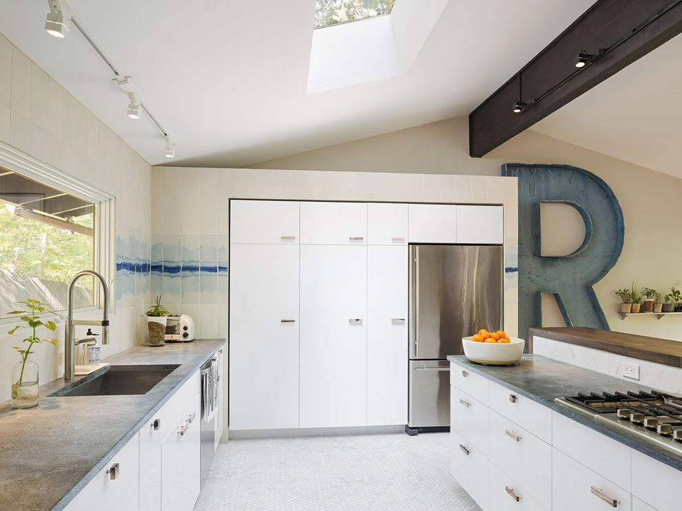 Mcelroy Metal for a Midcentury Kitchen with a Kitchen with Skylight and Upper Main Line Residence by STUDIOrobert Jamieson