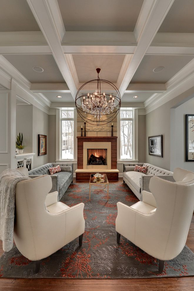Mchsi for a Traditional Living Room with a Ceiling Beams and Graham Hill Residence by Eskuche Design