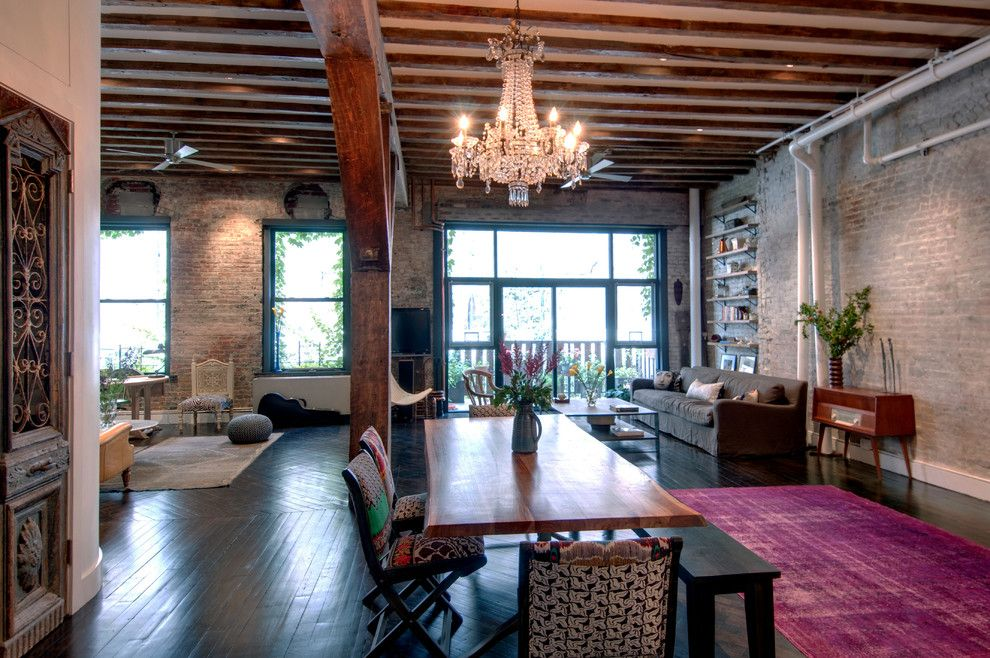 Mcnear Brick for a Industrial Dining Room with a Brick Wall and Reiko Feng Shui Interior Design by Reiko Feng Shui Design