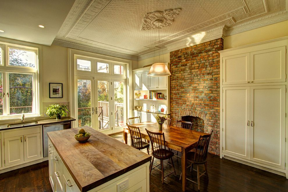 Mcnear Brick for a Traditional Kitchen with a Wood Chairs and Park Slope Brownstone by Ben Herzog