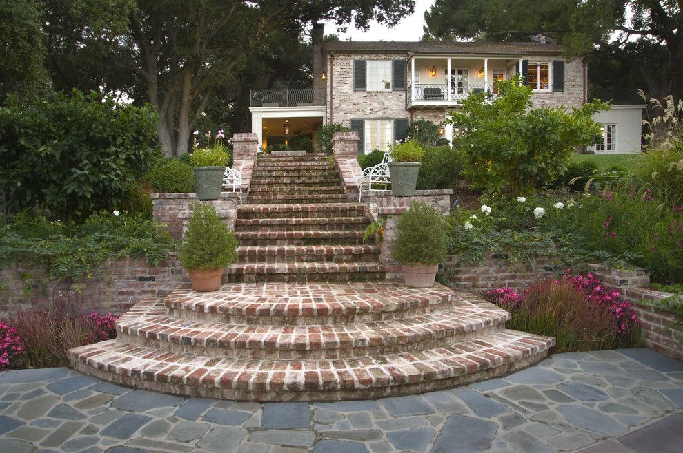 Mcnear Brick for a Traditional Landscape with a Brick Stairs and Los Gatos Residence by Kikuchi + Kankel Design Group