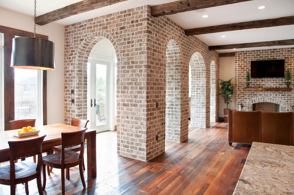 Mcnear Brick for a Traditional Living Room with a Wall Mounted Tv and Chateau De Charleston by Ink Architecture + Interiors