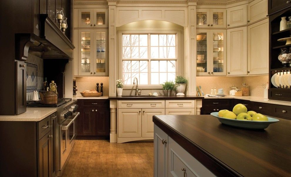 Medallion Cabinets for a Traditional Kitchen with a Kitchen Island and Kitchen, Bath and Interior Design by Skd Studios
