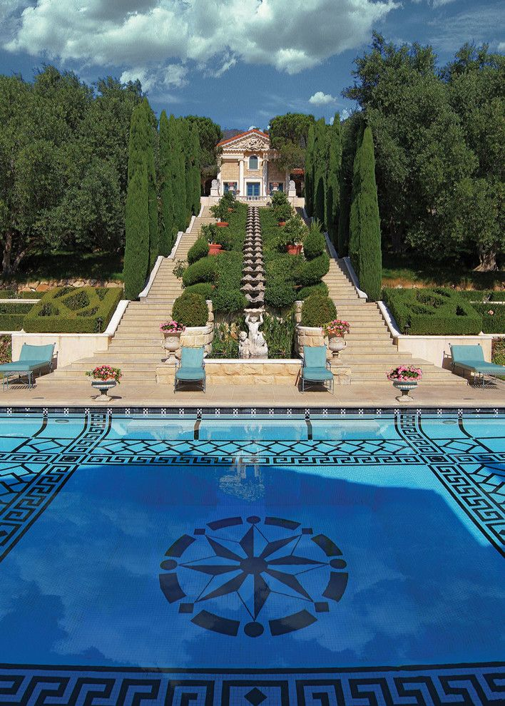 Medallion Pools for a Traditional Pool with a Grand Outdoor Staircase and Villa Zeffiro by Bryant Design Studio