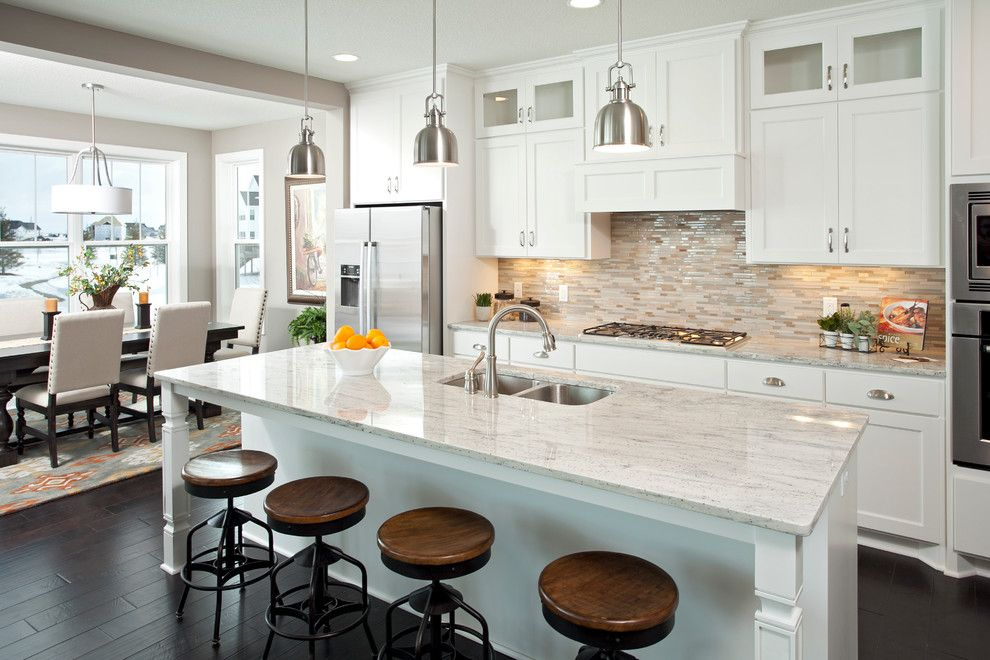 Mega Granite for a Traditional Kitchen with a Beige Walls and the Kennsington Spring 2013   Spirit of Brandtjen Farm by Homes by Tradition