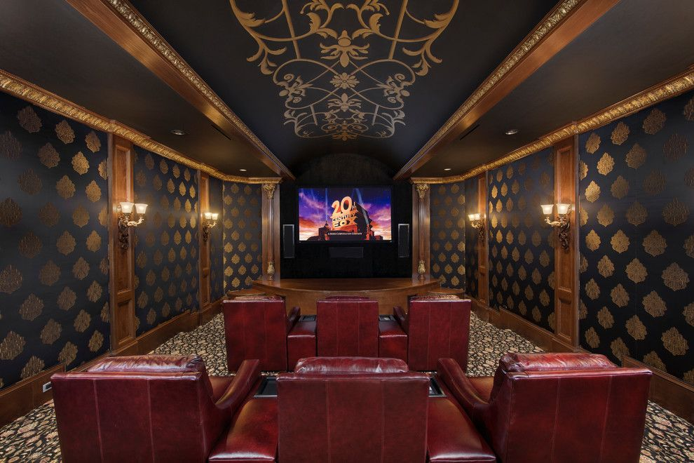 Melrose Park Theater for a Mediterranean Home Theater with a Mediterranean and Richmond Estate by Patrick Berrios Designs