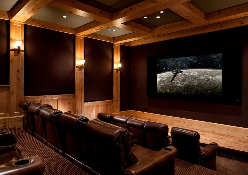 melrose park theater for a rustic home theater with a natural finishes and 03 park city - Home Theater Design Group