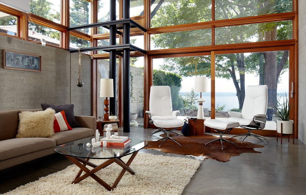Menards Traverse City for a Modern Living Room with a Cowhide Rug and Stressless Design Gallery by Stressless