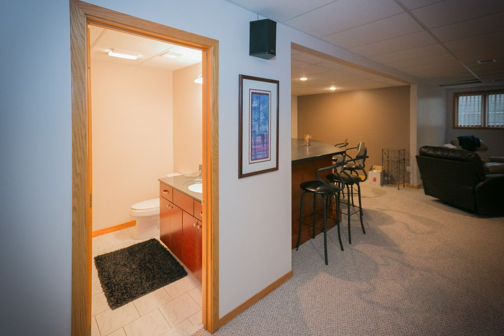 Menards Traverse City for a Traditional Basement with a Saginaw Contractor and Perfectly Fine Finished Basement Midland, Mi by Griggs Building & Design Group
