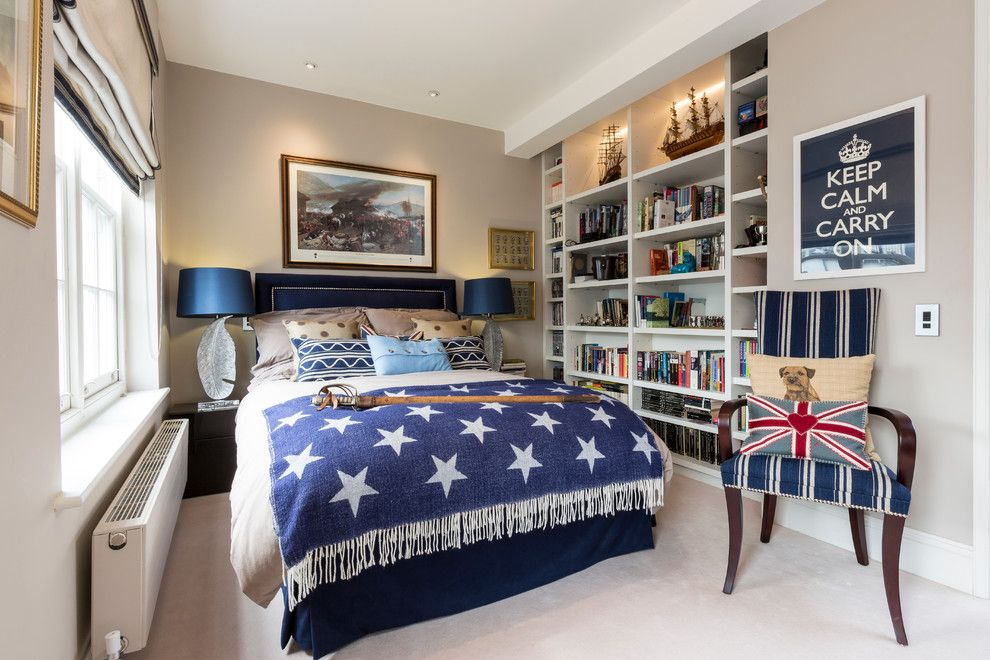 Mens Bedroom Ideas for a Eclectic Bedroom with a Artistic and Kensington Town House by Luke Cartledge Photography