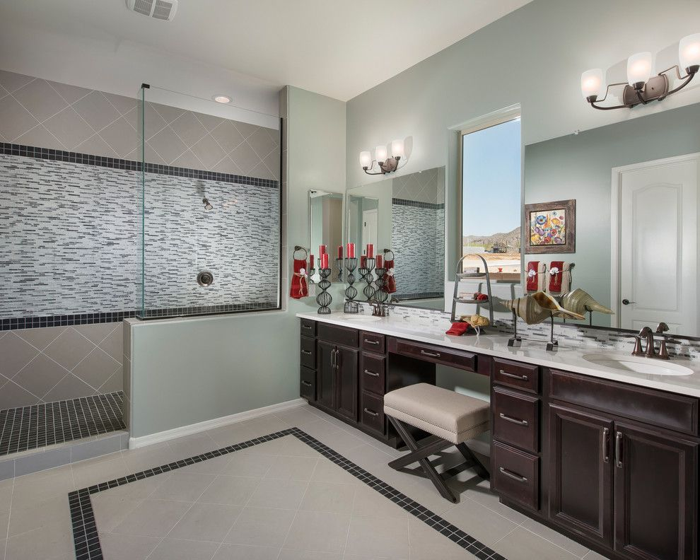 Meritage Homes Az for a Contemporary Bathroom with a Light Green Walls and the Sabine Plan at Sky Ranch | Tucson, Az by Meritage Homes