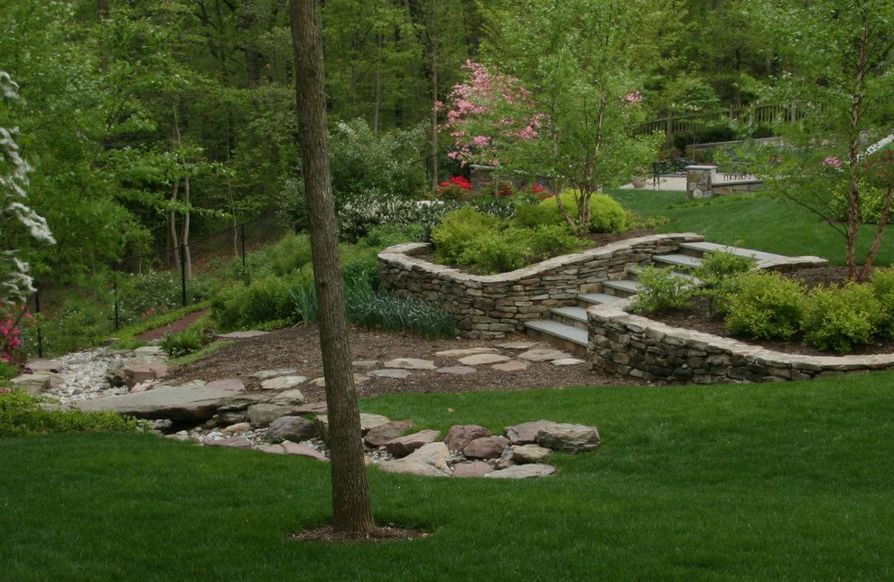 Merrifield Garden Center for a Traditional Landscape with a Drainage and Backyard Staircase by Merrifield Garden Center