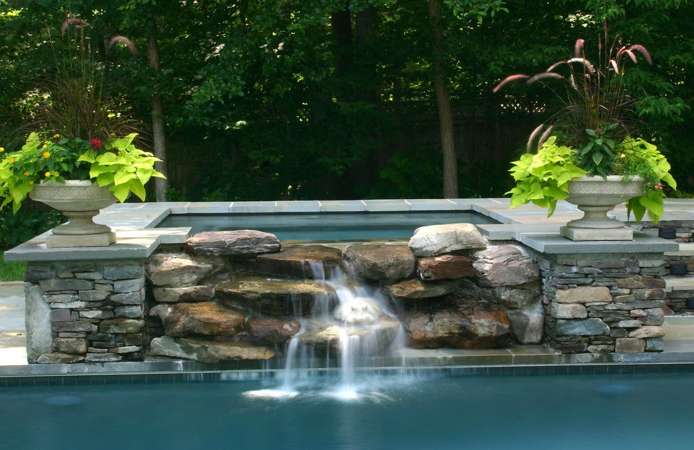 Merrifield Garden Center for a Traditional Pool with a Pool and Pool Waterfall by Merrifield Garden Center