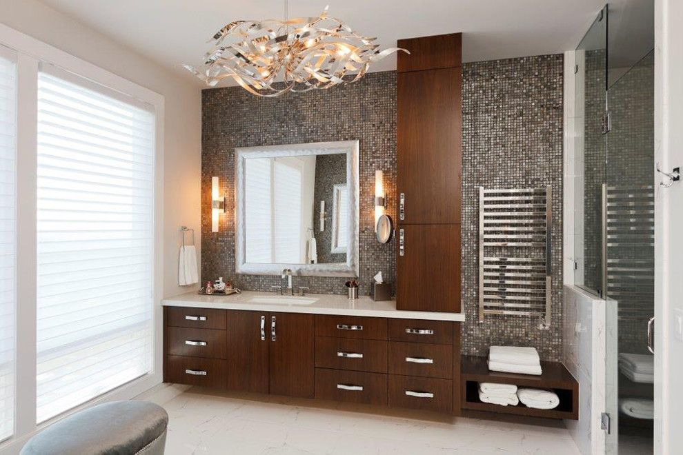 Metal Mart Lehi for a Contemporary Bathroom with a Glass Mosaic Tile and Northwest Contemporary Home by Contract Furnishings Mart