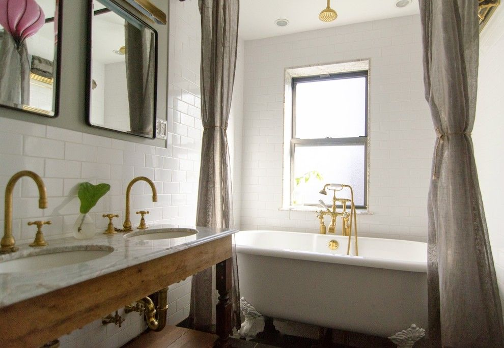 Metropolitan Bath and Tile for a Eclectic Bathroom with a Linen and Prospect Heights Brownstone by Indigo & Ochre Design