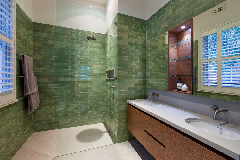Mid America Tile for a Contemporary Bathroom with a Frameless Shower Glass and Hamersley Road by Studio 53
