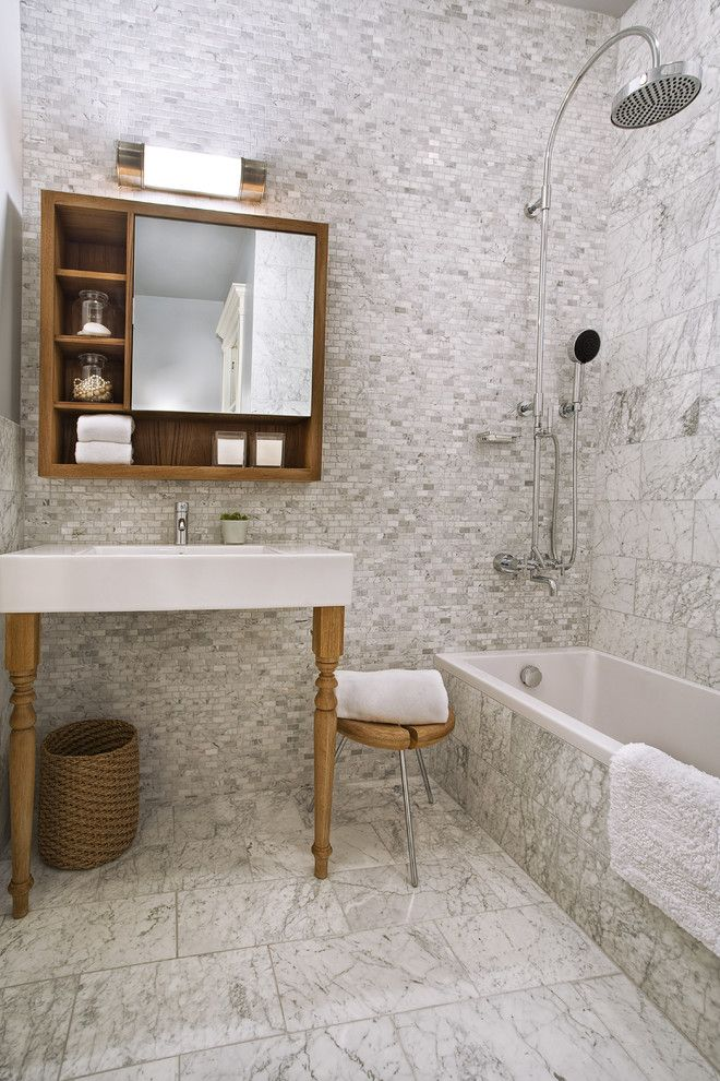 Mid America Tile for a Contemporary Bathroom with a Washstand and Ashbury St by Patrick Perez Architect