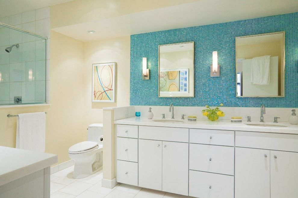Mid America Tile for a Contemporary Bathroom with a White Cabinets and Montclair Mid Century Modern by Cillesa Interior Design & Space Planning
