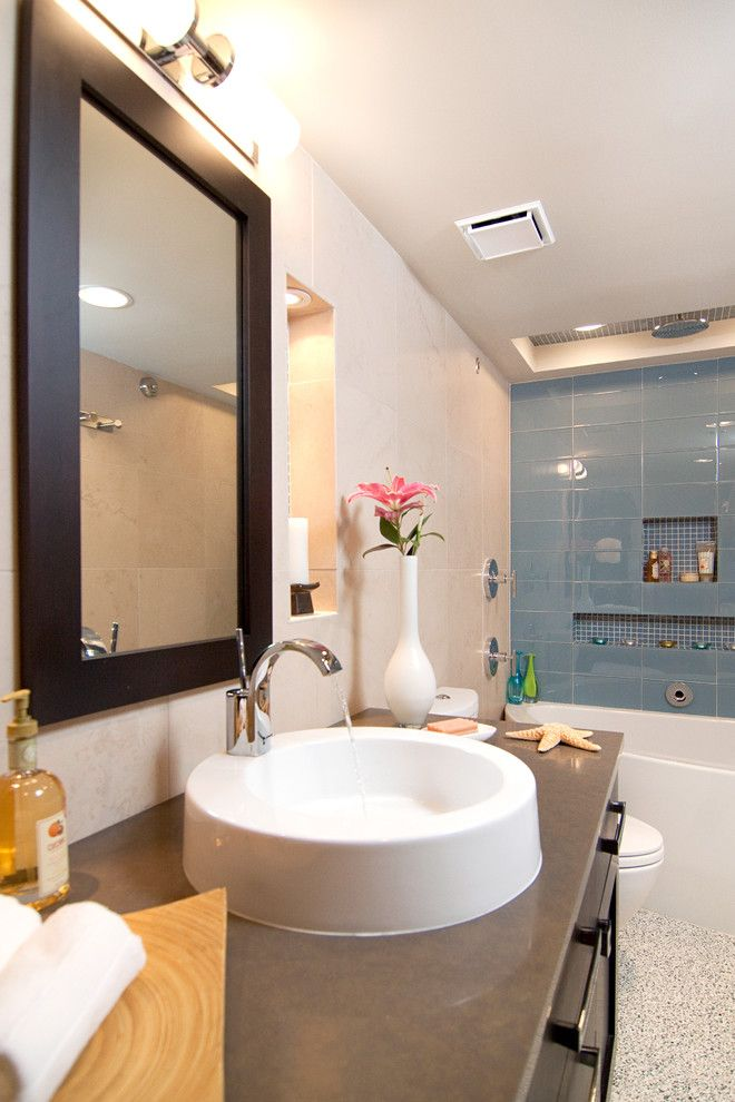 Mid America Tile for a Transitional Bathroom with a Vase Wall Mounted Faucet and Condo Small Bath: Transitional by in Detail Interiors