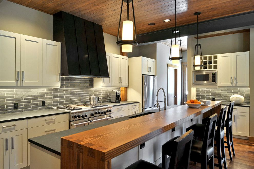 Mid America Tile for a Transitional Kitchen with a Subway Tile and Suncadia Residence, Washington by Clinkston Architects