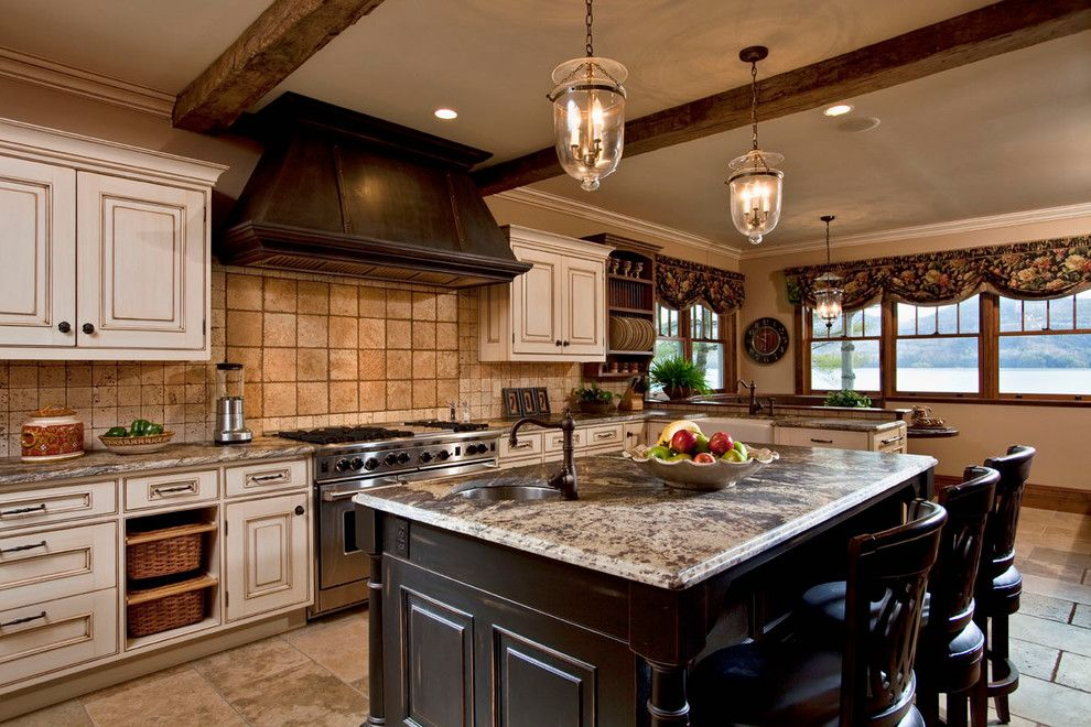Mid Atlantic Builders for a Contemporary Kitchen with a Tile Backsplash and Private Residence on Lake George by Phinney Design Group