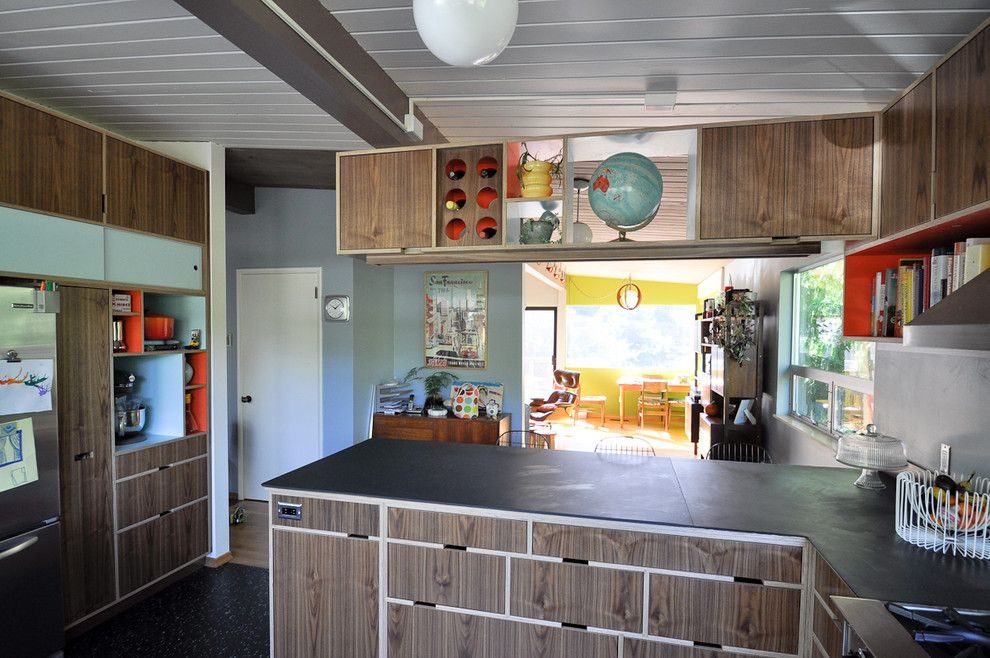 Mid Century Modern for a Modern Kitchen with a Kerf Cabinets and Blue Ridge Mid Century Modern Kitchen by Fivedot Design Build