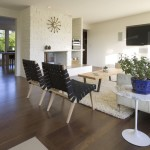 Mid Century Modern for a Modern Living Room with a White Brick and Mid Century Re Modern by Shks Architects