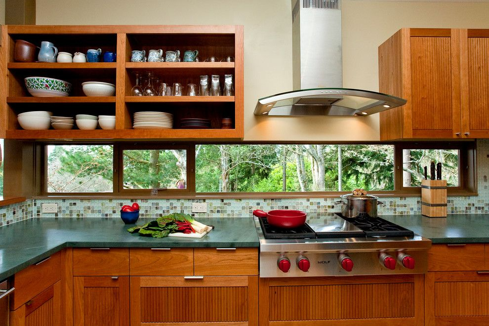 Mid Continent Cabinets for a Midcentury Kitchen with a Red Pan and Pacific Nw Mid Century Kitchen Remodel by Crescent Builds
